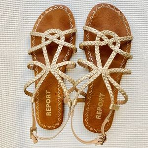 Report Gold Braided Strappy Slingback Sandals 7.5